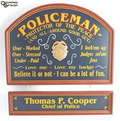 Personalized Policeman Custom Wood Sign Cool gift idea for my Dad. Gifts For Cops, Police Gifts, Retirement Parties, Custom Wood Signs, Music Gifts, Business Signs, Office Wall Decor, Personalized Signs, Vintage Signs