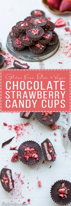 These Chocolate Strawberry Cups have a creamy strawberry + coconut butter filling encased in homemade chocolate! These gluten-free, Paleo + vegan candy cups will satisfy your sweet tooth more healthfully.