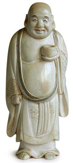 Antique Ivory Carved Japanese Ivory Okimono Hotei Carving