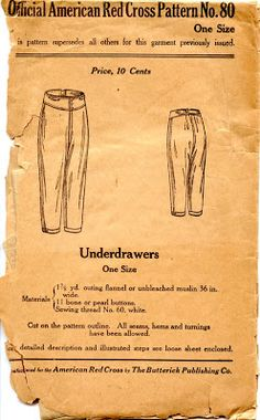 Unsung Sewing Patterns: Official American Red Cross Pattern No. 80 - Underdrawers