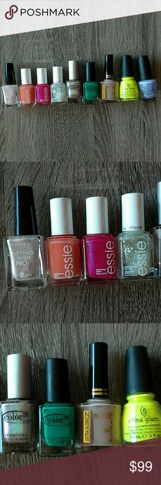 FREE gift - Like new nail polish! Some of these are like new. Pick one polish as a free gift with order or pick a few and I'll give you a low price. #freegift #polish  Colors in order:  Rimmel 290 crushed pearl - light pink Essie tart deco Essie Miami vice Essie luxe effects sparkle on top Color club - cherubic (halo) Color club wild cactus Beauty care high gloss - dark nude China glaze - yellow polka dot bikini Opi - you're such a Budapest Other