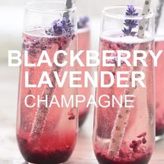 This BlackBerry Lavendar Champagne Cocktail gets a unique twist with a simple bl. - This BlackBerry Lavendar Champagne Cocktail gets a unique twist with a simple blackberry and lavend - Cocktails Champagne, Cocktail Drinks, Champagne Punch Recipes, Comida Diy, Alcohol Drink Recipes, Think Food, Non Alcoholic, Halloween Alcoholic Drinks, Party Drinks