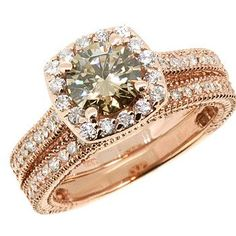 1.76ct Cognac Champagne Fancy Brown Diamond Matching Engagement Ring Wedding Band Set 14k White Yellow Rose Pink Gold Vintage Antique Style on Etsy, $2,990.00