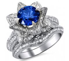 Shop our selection of round blue sapphire & diamond engagement rings. Front Jewelers offers a great choice of ladies diamond rings. Lotus Flower Engagement Ring, Gemstone Engagement Rings, Engagement Ring Styles, Designer Engagement Rings, Blue Sapphire Rings, Blue Rings, Sapphire Diamond, Different Engagement Rings, Bridal Ring Sets