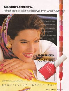 Cover Girl Nail Slicks with Carol Alt remember this ad :) Vintage Makeup Ads, Vintage Nails, Retro Makeup, Vintage Beauty, Vintage Style, Retro Vintage, Covergirl Makeup, Carol Alt, Beauty Ad