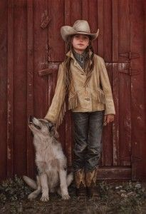Carrie Ballantyne, Reata and the Ranch Pup, oil, 19 x 13.   cowgirl art     cowgirl painting   #cowgirlart #cowgirlpainting http://www.islandcowgirl.com