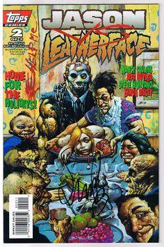 JASON vs LEATHERFACE #2 NM, Signed by Simon Bisley, Topps Comics, 1995