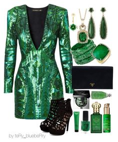 """Emerald night"" by teryblueberry ❤ liked on Polyvore featuring Balmain, Prada, Vince Camuto, Delfina Delettrez, LE VIAN, Clive Christian, Matrix Biolage, Old Spice, Nuxe and Bobbi Brown Cosmetics"