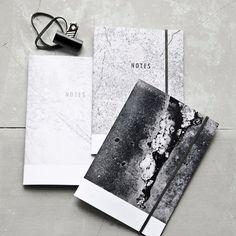 Béton Textures portable Collection of Three, minimaliste béton Ledger définie, journal de poche de papier recyclé moderne minime, Gift Set