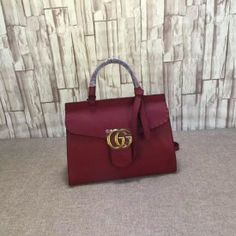 Gucci GG Marmont leather top handle bag burgundy 421890