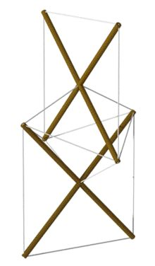 Snelson X Module, the world's first tensegrity, 1948