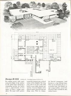 Gotta have an Atrium. Vintage House Plans, Mid Century Homes, 1960s Homes