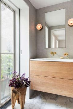 Prospect Heights townhouse master bath with vola fixtures, tadelakt walls and a custom vanity 📷 Modern Bathroom Design, Modern House Design, Bathroom Interior, Home Design, Interior Design, Dream Bathrooms, Beautiful Bathrooms, Small Bathroom, Bathroom Ideas