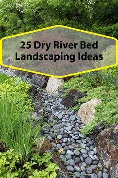 Use these ideas to help you build a dry stream river bed in your backyard Dry Riverbed Landscaping, River Rock Landscaping, Landscaping With Rocks, Front Yard Landscaping, Backyard Landscaping, Landscaping Ideas, Backyard Ideas, Rock Drainage, Drainage Ditch