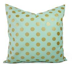 Zwei metallische Gold Kissen-Abdeckungen - Minze und Gold Kissenbezug - Dekorative Kissen - Kissen Polka Dot - Kinderzimmer Kissen - Minze grüne Kissen