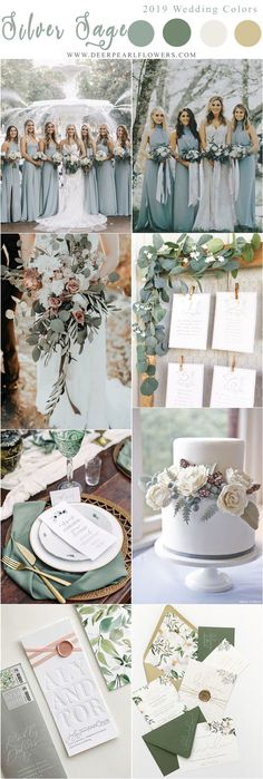 silver sage green wedding color ideas for 2019 #weddings #weddingcolors #weddingideas #blueweddings #weddinginspiration www.deerpearlflow...