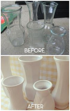 Spray paint common thrift store glassware white for a modern accent that is perfect for any room of the house!