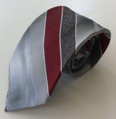 Wembley Neck Tie Gray Burgundy White Striped Wemlon Wash N' Wear SKINNY #Wembley #NeckTie