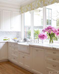 Valance idea beautiful kitchen...white marble counters, white kitchen cabinets. Valance idea