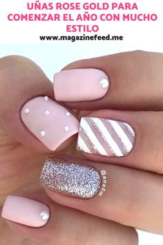 Rose Gold nails to start the year in Natural Nail Designs, Short Nail Designs, Aycrlic Nails, Nail Manicure, Cute Acrylic Nails, Cute Nails, Semi Permanente, Square Nail Designs, Rose Gold Nails
