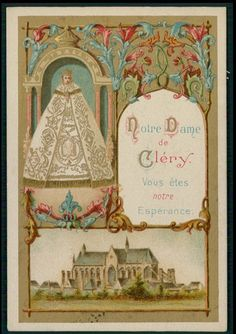 Vintage HOLY CARD Antique Our Lady of Clery our Hope Mary Boulet Gold