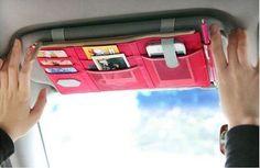 Multi-purpose Auto Car Sun Visor Organizer Pouch Bag in Pink
