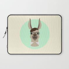 The handsome guy on this Mr. Llama laptop sleeve looks like he could be teaching his own class. Love the nerd glasses! | Society6