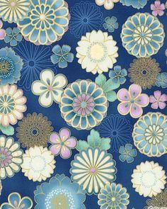 Satsuki 3 - Enchanting Asian Blossoms - Navy Blue/Gold