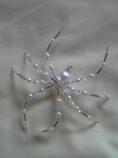Glass White Pearl Beaded Halloween Spider Suncatcher Ornament Decoration