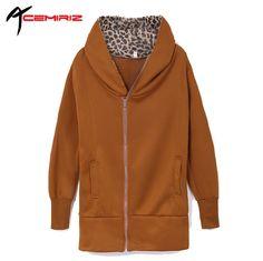 ACEMIRIZ Spring Autumn Casual Zipper Hoodie Sweatshirt Women's Long Sleeve Leopard Jacket Coat Warm Sweater Drop AWC0027