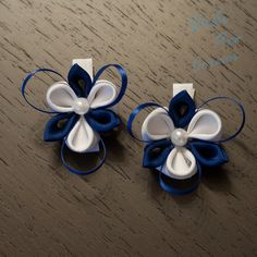 Navy Blue and White Kanzashi Inspired Flower with a Pearl Hair Clip on Etsy, £7.40