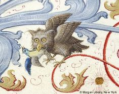 Owl, from the 'Geese Book' Gradual, made in Germany, 1507-10, via Medieval Manuscript Images, Pierpont Morgan Library, Geese Book (MS M.905). MS M.905 I, fol. 38v  http://utu.morganlibrary.org/medren/single_image2.cfm?imagename=m905.1.038vb.jpg=ICA000129215