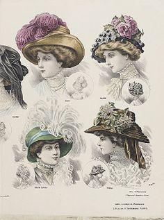 1908 fashion plate, big hats
