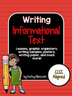 This unit contains everything you will need to teach your students to write an informational text. 7 Pages of Easy-to-follow mini-lessons (editable). Includes a complete sample text and 10 adorable reference posters.  Includes a variety of blank writing forms for your students to draft their writing.