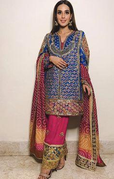 We're loving this vibrant attire on Pakistani Fancy Dresses, Pakistani Fashion Casual, Pakistani Dress Design, Pakistani Outfits, Indian Dresses, Indian Outfits, Mehendi Outfits, Bridal Outfits, Bridal Gowns