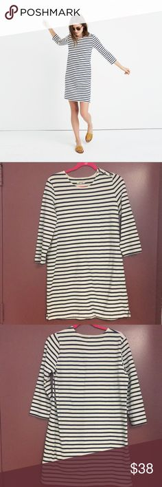 Madewell Striped Knit Dress Navy and cream striped dress. Button shoulder. Very versatile dress- wear spring-fall. Pre-loved with a little wear in the seat shown in pictures. Otherwise excellent condition! Madewell Dresses Mini