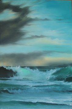 Nature   Sea -- looks like rain over the muted aqua ocean