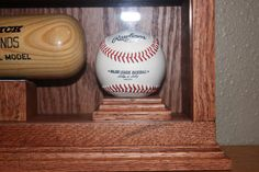 baseball bat display case with ball holder solid oak by klwilmes