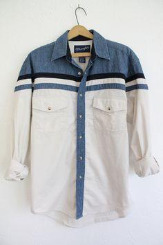 Vintage 80s Men's Wrangler Denim Striped Shirt // VAUX VINTAGE
