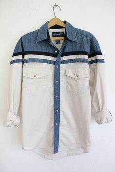 Vintage 80s Men's Wrangler Denim Striped Shirt // VAUX VINTAGE