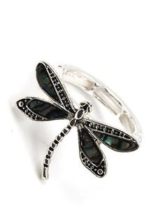 Silver tone Abalone dragonfly stretch ring. One size fits most.
