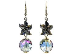 Use coupon 10OFFTLBCJ for 10%OFF on $10.00 or more Use coupon 20OFFTLBCJ for 20%OFF on $20.00 or more --- Free Shipping Jewelry SALE Handmade Beaded Glass Crystal Amethyst Antique Silver Metal Flower Unique Fashion Dangle Earrings (Item # LBE009) by TheLoveBabyCompany on Etsy