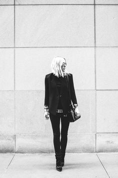 Damsel in Dior | Helmut Lang Cusp Blazer; Bat Wash Pull On Jeans; St. John Blouse; Saint Laurent Sac du Jour; High Heeled Booties