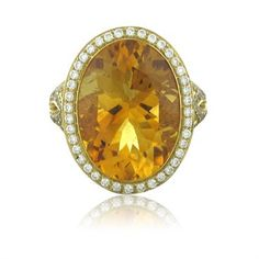 Retail $6550 Metal:18K Yellow Gold Marked/Tested:Asprey, 750, English Gold Marks Gemstones/Diamonds:Citrine - 11.61ct Yellow Diamonds - 0.91ctw Diamonds - 0.69ctw Clarity: VS Color: G Measurements:Rin