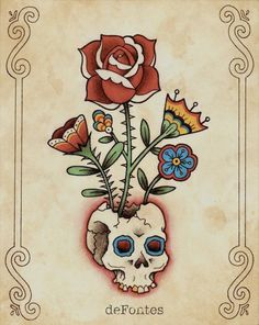 Items similar to The Death Crown, Old School Tattoo Flash Art Print on Etsy Traditional Tattoo Flowers, Traditional Tattoo Flash, Traditional Roses, American Traditional, Skull Tattoos, Cute Tattoos, Body Art Tattoos, Tattoo Flash Sheet, Tattoo Flash Art