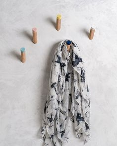 Coat hooks for your entryway, kids room or any other room. This set of five wall hooks have coloured tips and are a modern and simple solution