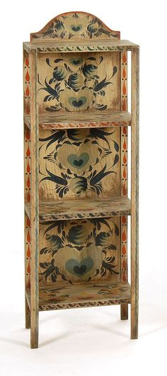 PETER HUNT-DECORATED THREE-SHELF ETAGERE With allover decora