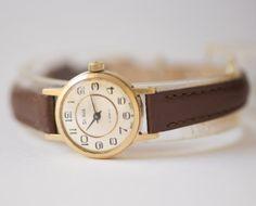 Vintage woman's watch gold plated Glory wristwatch by SovietEra, $67.00
