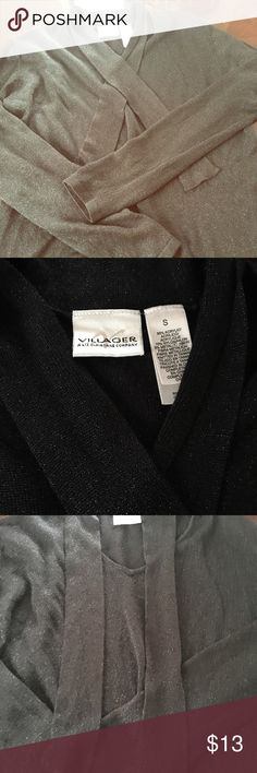 Black long sleeve top Black shimmery long sleeve top, with cute versatile ties around neck area. Used in great condition. villager Tops Blouses