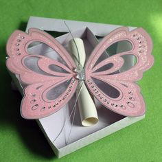 Creative Pink Elegant Butterfly Wedding Invitations with Scroll RSVP Card and Paper Box College Graduation Invites Photo Print Butterfly Wedding Theme, Butterfly Wedding Invitations, Quinceanera Invitations, Cheap Wedding Invitations, Graduation Invitations, Printable Wedding Invitations, Quince Invitations, Party Invitations, Handmade Wedding Favours